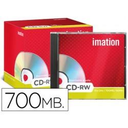 Cd-rw imation capacidad 700mb duracion 80min velocidad 10x-24x regrabable ultra rapido caja -10 unidades-