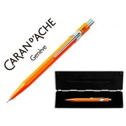 Portaminas caran d'ache 844 0,7 mm cuerpo naranja fluor adornos cromados con estuche