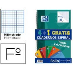 Bloc espiral oxford tapa extradura optik paper folio 80 hojas 90 gr pack de 4 + 1