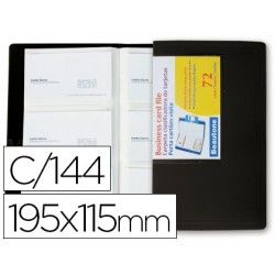 Carpeta beautone clasificador de tarjetas polipropileno 115x190 mm para 144 tarjetas -negra