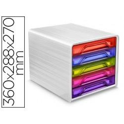 Fichero cajones de sobremesa cep 5 cajones multicolores 360x288x270 mm