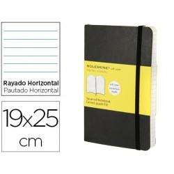 Libreta moleskine tapa blanda rayado horizontal 192 hojas color negro cierre con goma 190x250 mm