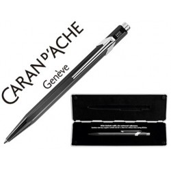 Boligrafo caran d'ache 849 pop line metalizado negro con estuche punta media