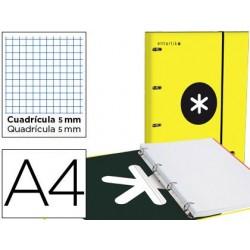 Carpeta con recambio y solapa liderpapel antartik a4 cuadro 5 mm forrada 4 anillas redondas 40mm color amarillo
