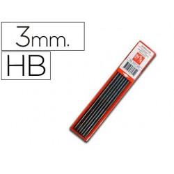 Mina caran d'ache grafito hb 3 mm longitud 12 cm estuche de 6 minas
