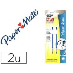 Recambio boligrafo paper mate replay premium tinta gel azul blister de 2 unidades