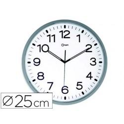 Reloj cep de pared magnetico oficina redondo 25 cm de diametro color blanco esfera cromada digitos negro gran