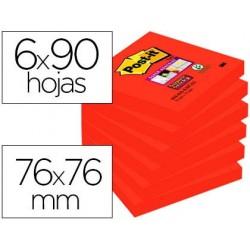 Bloc notas adhesivas quita y pon post-it super sticky 76x76 mm con 90 hojas 654 azafran