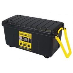 Caja de almacenaje archivo 2000 polipropileno 160 litros con 4 ruedas y asa color negro 480x1000x480 mm