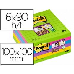 Bloc de notas adhesivas quita y pon post-it super sticky rayado 101x101 mm pack de 6 unidades colores surtidos