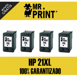 21XL HP Pack 4  Cartuchos Negro Remanufacturado