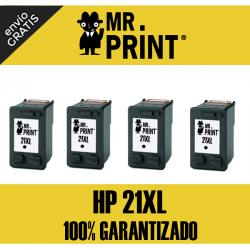 21XL HP Pack 4 Cartuchos Negro Remanufacturado