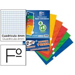Bloc espiral oxford tapa extradura folio 80 hojas cuadro 4 mm pack de 4 + 1 gratis