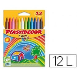 Lapices cera PLASTIDECOR caja de 12 colores.