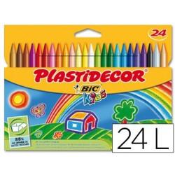 Lapices cera PLASTIDECOR caja de 24 colores.