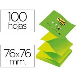 Bloc de notas adhesivas quita y pon post-it 76x76 mm z-notes verde pastel y neon colores alternos pack 12