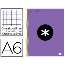 Cuaderno espiral liderpapel a6 micro antartik tapa forrada 100h 100 gr cuadro 5 mm 4 bandas color violeta
