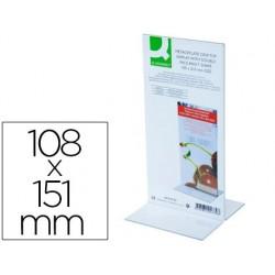 Expositor sobremesa q-connect con forma de t metacrilato tamaño 108x151 mm a dos caras