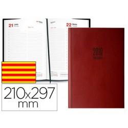 Agenda encuadernada ingraf amsterdam 21x29,7 cm 2018 dia pagina color burdeos papel ecologico 80 gr texto en