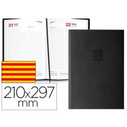 Agenda encuadernada ingraf amsterdam 21x29,7 cm 2018 dia pagina color negro papel ecologico 80 gr texto en