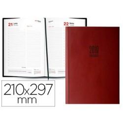 Agenda encuadernada ingraf amsterdam 21x29,7 cm 2018 dia pagina color burdeos papel ecologico 80 gr