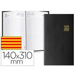 Agenda encuadernada ingraf mega 14x31 cm 2018 dia pagina color negro papel ecologico 70 gr texto en catalan