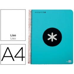 Cuaderno espiral liderpapel a4 micro antartik tapa plastico 120h 100 gr liso con bandas 4 taladros turquesa