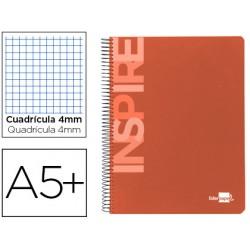 Cuaderno espiral liderpapel cuarto inspire tapa dura 80h 60 gr cuadro 4mm conmargen naranja