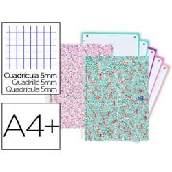 Cuaderno espiral oxford europeanbook 5 bloom tapa extradura din a4+ 120 hojas cuadro 5 mm con margen bloom