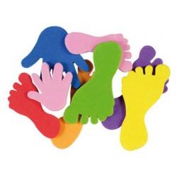 Figuras de pies y manos autoadhesivas bolsas de 55 unidades colores surtidos
