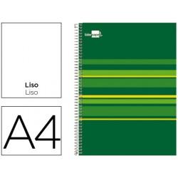 Cuaderno espiral liderpapel a4 micro classic tapa forrada 160h 60 gr liso 5 bandas 4 taladros verde