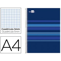 Cuaderno espiral liderpapel a4 micro classic tapa forrada 160h 60 gr cuadro 5mm 5 bandas 4 taladros azul