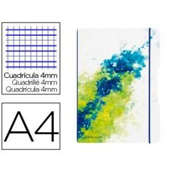 Bloc de notas herlitz note book flex a4 2x40 hojas cuadricula 4 mm+pautado color splash rosa cierre gomilla