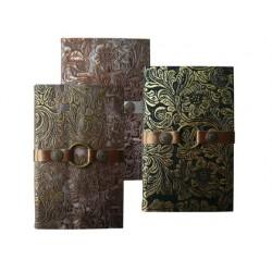 Libreta liderpapel simil piel papel crema 70 gr 142 hojas 18,5x12 cm 3 colores surtidos expositor de 12 unidades