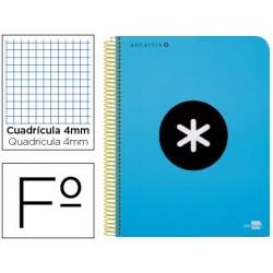 Cuaderno espiral liderpapel folio antartik tapa plastico 80h 100 gr cuadro 4mm con margen color azul