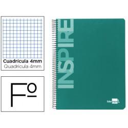 Cuaderno espiral liderpapel folio inspire tapa dura 80h 60 gr cuadro 4mm con margen verde