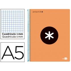 Cuaderno espiral liderpapel a5 micro antartik tapa plastico 120h 100 gr cuadro 5mm 5 bandas 6 taladros naranja
