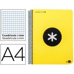 Cuaderno espiral liderpapel a4 micro antartik tapa plastico 120h 100 gr cuadro 5mm 5 bandas 4 taladros amarillo