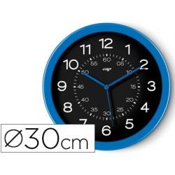 Reloj cep de pared plastico oficina redondo 30 cm de diametro color azul y esfera color negro