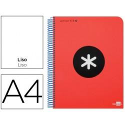 Cuaderno espiral liderpapel a4 micro antartik tapa plastico 120h 100 gr liso con bandas 4 taladros rojo