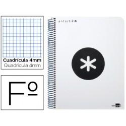 Cuaderno espiral liderpapel folio antartik tapa plastico 80h 100 gr cuadro 4mm con margen color blanco