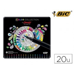 Rotulador bic color collection caja metalica 20 unidades colores surtidos
