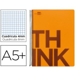 Cuaderno espiral liderpapel cuarto think tapa plastico 80h 80 gr cuadro 4mm con margen color naranja