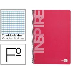 Cuaderno espiral liderpapel folio inspire tapa dura 80h 60 gr cuadro 4mm con margen color rosa