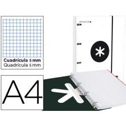 Carpeta con recambio y solapa liderpapel antartik a4 cuadro 5 mm forrada 4 anillas redondas 40mm color blanco