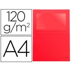 Subcarpeta cartulina q-connect din a4 roja con ventana transparente 120 gr