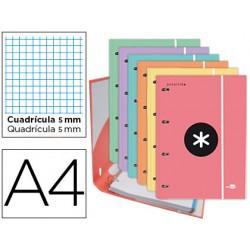 Carpeta liderpapel antartik con recambio a4 cuadro 5 mm forrada 4 anillas 25mm trending topic colours