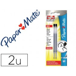 Recambio boligrafo paper mate replay premium tinta gel negro blister de 2 unidades
