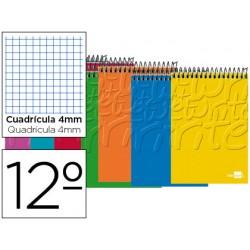Cuaderno espiral liderpapel bolsillo doceavo apaisado write tapa blanda 80h 60 gr cuadro 4mm colores surtidos