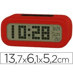 Reloj despertador con pantalla retroiluminada calendario y temperatura color rojo